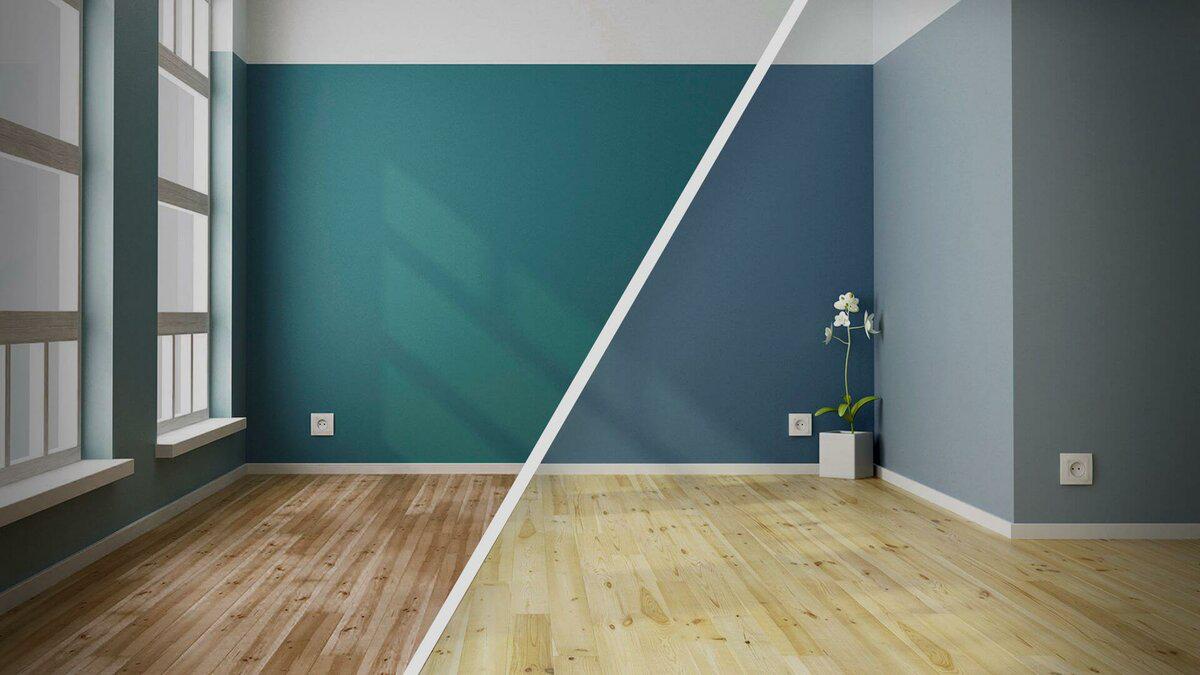 отделка стены краской